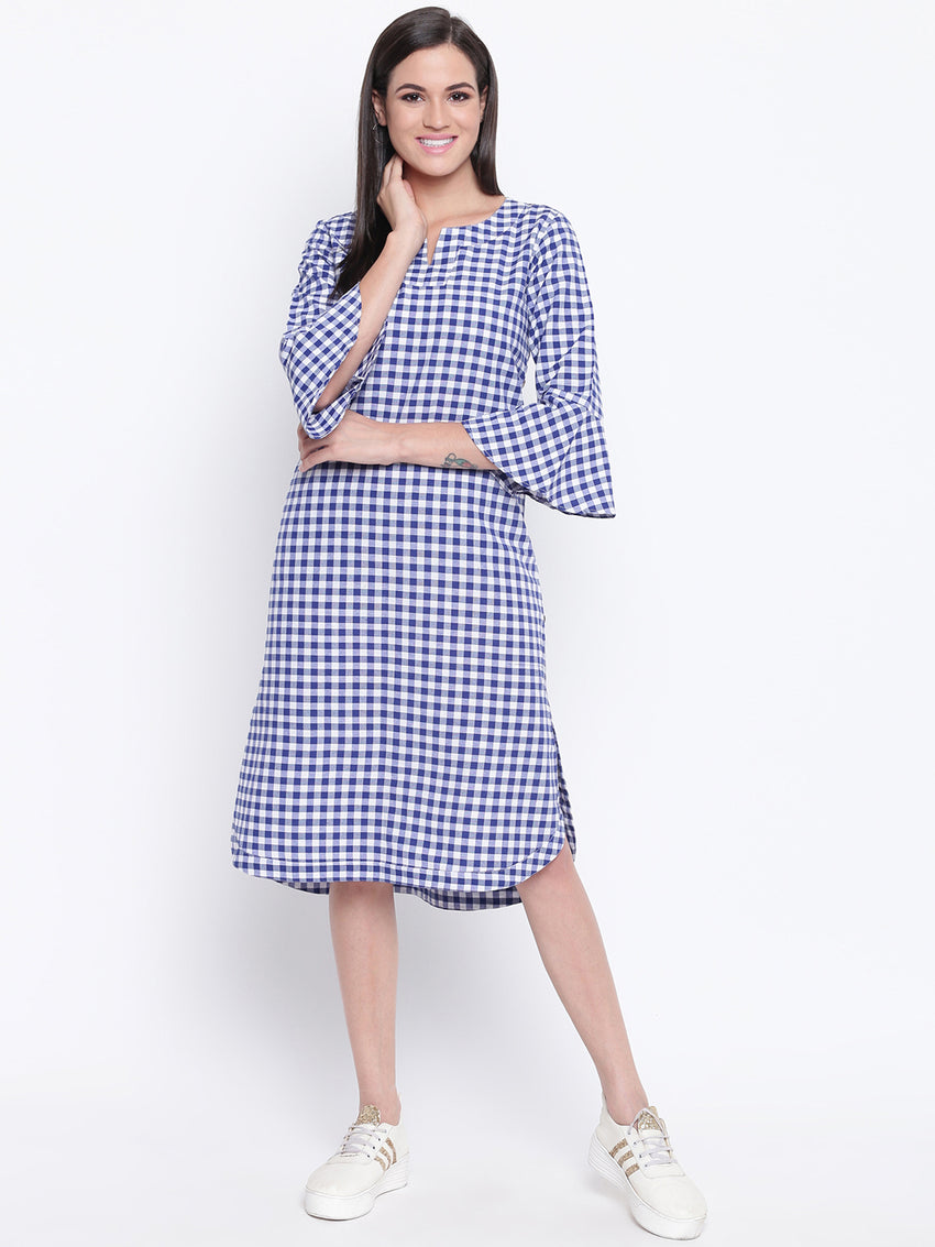 Fabnest womens cotton blue and white check kurta/dress with flounce sleeves and buttons on the side.