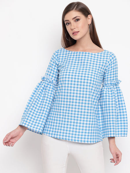 Fabnest womens cotton Light blue and white check top with gathered long sleeves