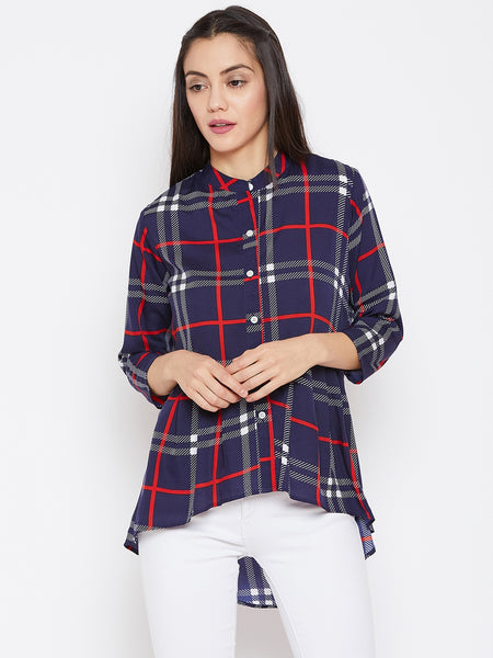 Fabnest women check/plaid long assymetrical gathered hem top/tunic