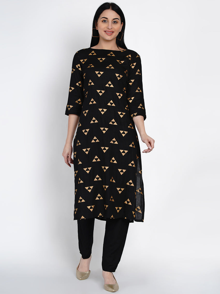 Fabnest Womens Black Rayon Straight Kurta With Gold Foil Print