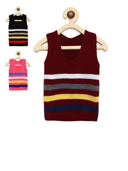 Fabnest Kids Unisex Multicolour Acrylic Winter Vest/Warmer Pack of 3
