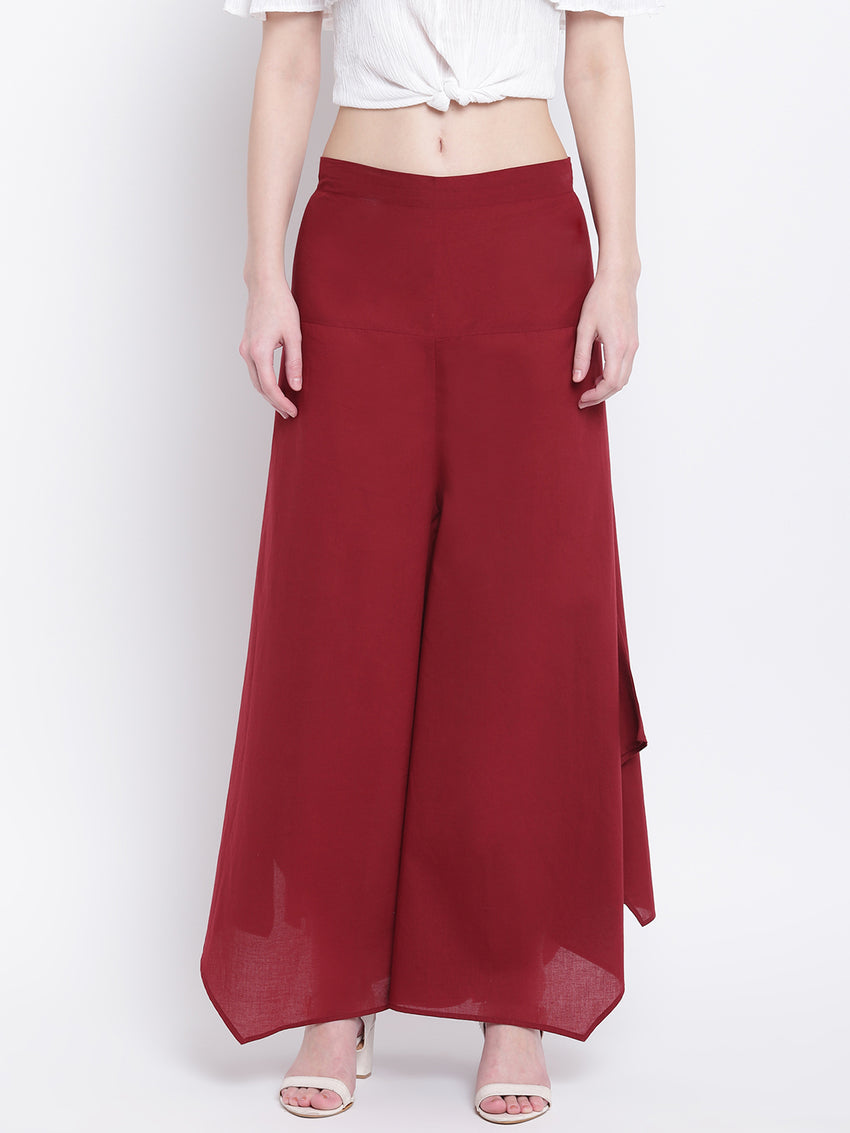 Fabnest womens maroon cotton assymetrical hem pant