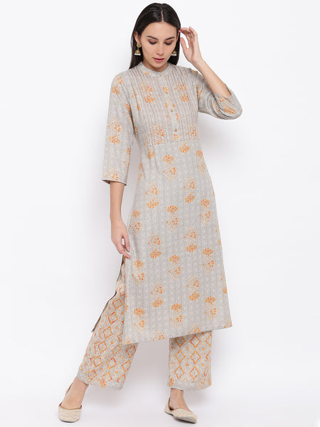Fabnest womens rayon grey printed kurta and pant set with contrast stitch detail at yoke.