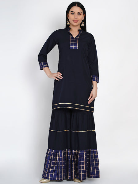 Fabnest Womens Navy Crepe Sharara Set With Brocade Inserts