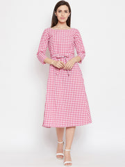 Fabnest Womens Handloom cotton pink/white check dress with belt