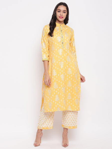 Fabnest women rayon lime yellow printed kurta and pant set with thread detailing on placket and cuff.