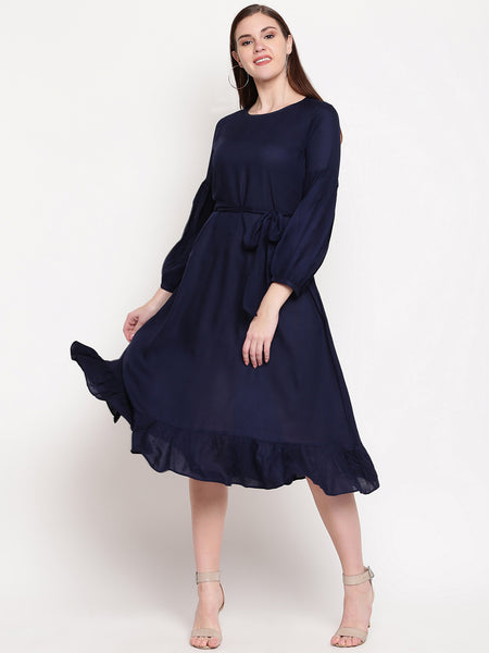 Fabnest womens rayon navy fit and flare dress with belt