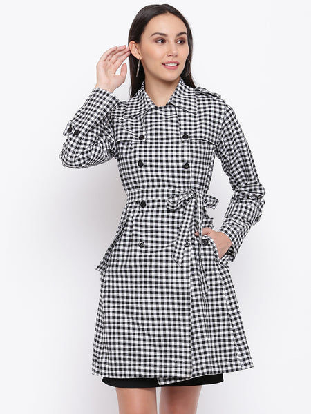 Fabnest womens handloom cotton black and white gingham check single layered trench coat