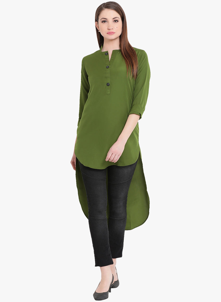 Fabnest womens crepe  khaki coloured high low tunic