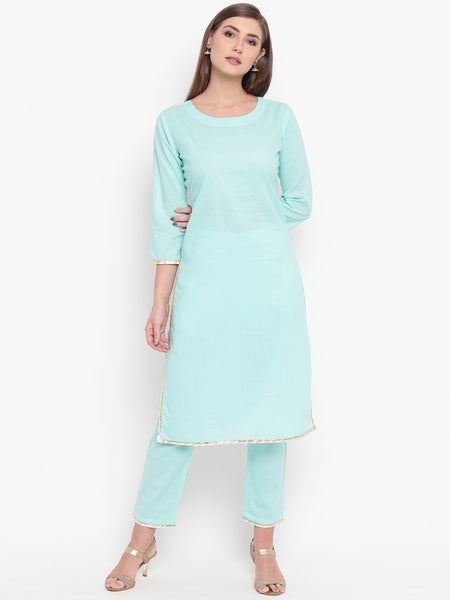 Fabnest womens cotton Light teal straight kurta and pant set