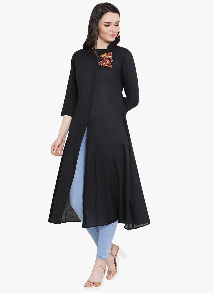 Fabnest womens black cotton assymetrical packet kurta with printed tassels.