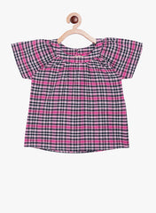 Fabnest girls cotton check raglan sleeve top