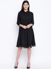 Fabnest women black cotton flowy dress with black lace at bottom hem