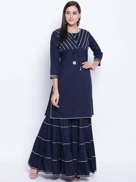 Fabnest womens cotton navy kurta and tiered sharara set with silver gota work.