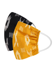 Fabnest Womens Black And Yellow Ikkat Face Masks Pack Of 2