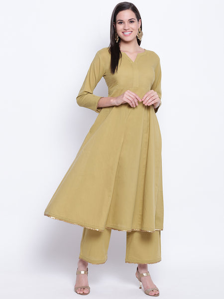 Fabnest womens olive green flared kurta and straight sharara set with antique gold gota edging.