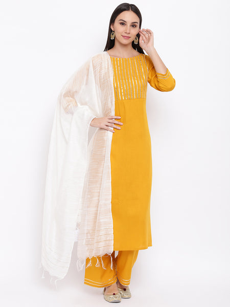 Fabnest womens rayon yellow gota embellishment kurta and pant with zari dupatta