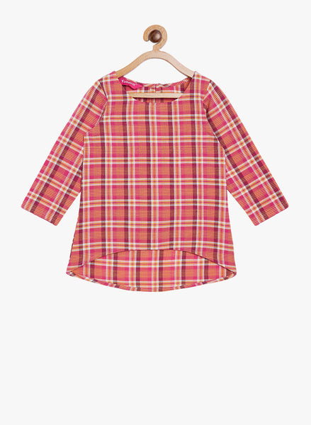 Fabnest girls cotton check assymetric hem long top