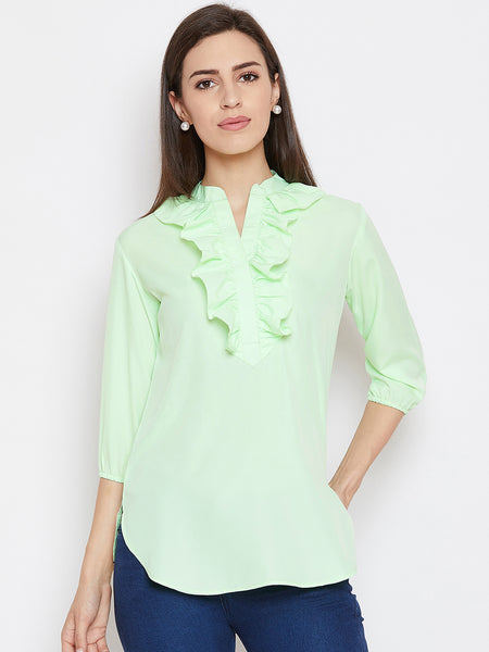 Fabnest womens neon green crepe tunic with ruffles at neck