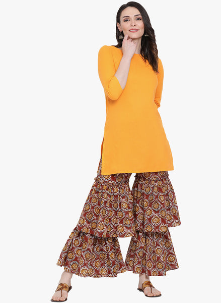 Fabnest womens yellow solid kurta with red printed double sharara set.