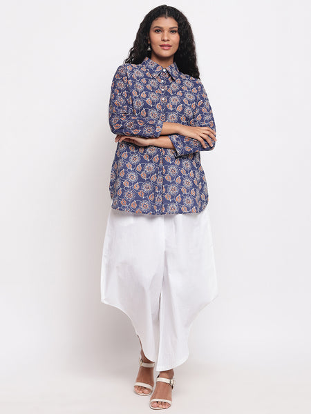 Fabnest womens cotton indigo printed collared tunic with assymetrical white cotton pant