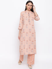 Fabnest women rayon peach printed kurta and pant set with thread detailing on placket and cuff.