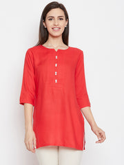 Fabnest women rayon short kurta/tunic with pintucks and mother of pearl buttons