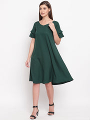 Fabnest womens crepe dark green A line dress with double flounce sleeve