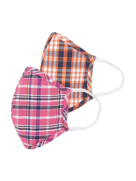 Fabnest Womens Multicolour stripe Face Masks Pack Of 2