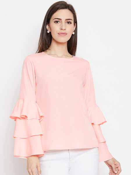 Fabnest womens peach crepe top with flounce sleeve