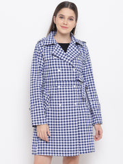 Fabnest Womens Cotton Handloom Two-Tone Blue&White Check Long Trench Coat