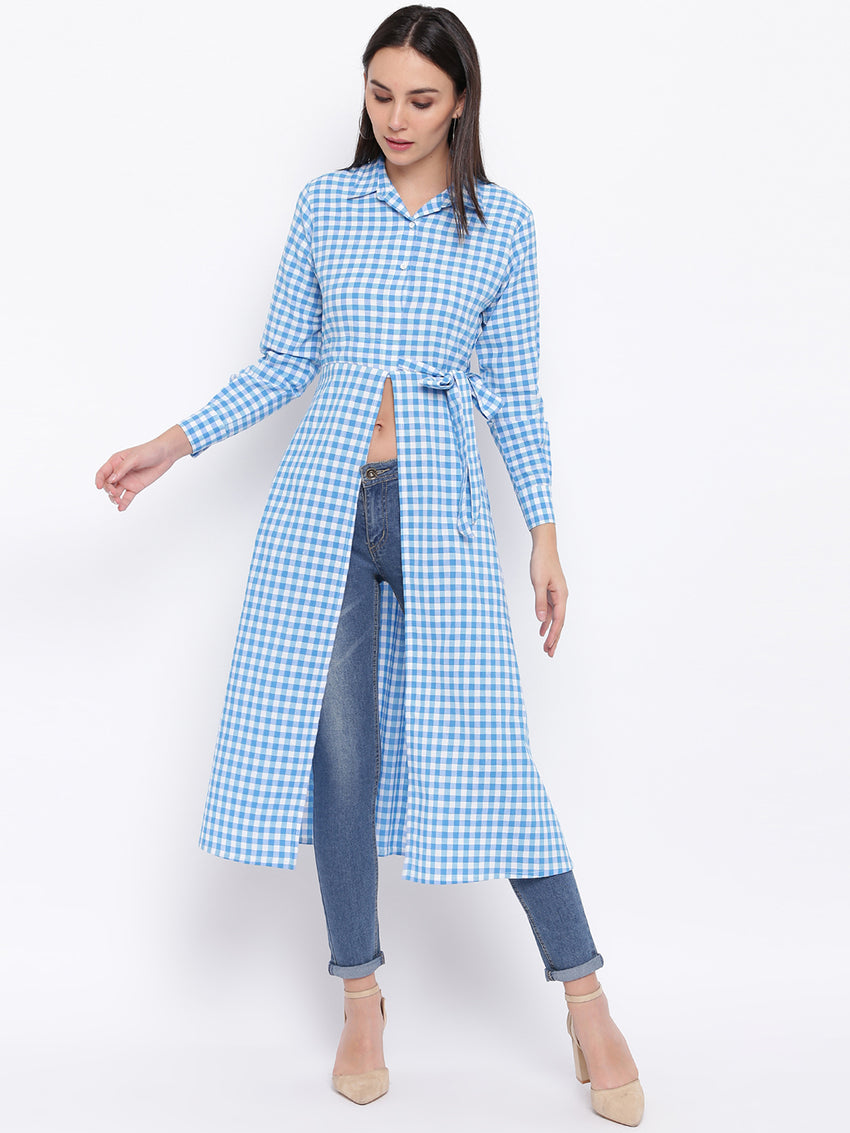 Fabnest womens cotton handloom light blue and white gingham tunic with front slit and side tie up.