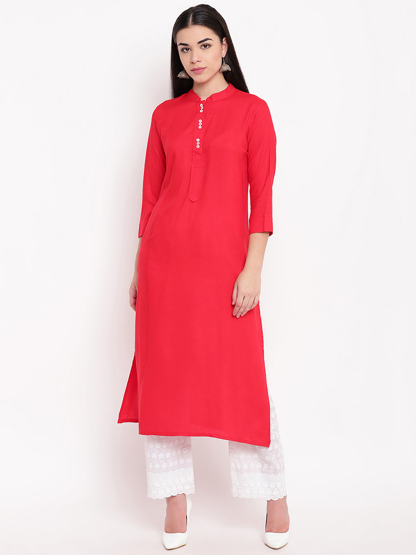 Fabnest womens rayon basic long kurta with mother of pearl buttons