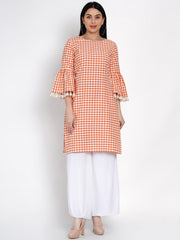 Fabnest Womens Cotton Orange And White Check Kurta With Flounce Sleeve And Tassles