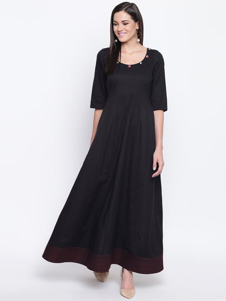 Fabnest womens black cotton anarkali kurta with red stitch at bottom and check tassles on back tie up