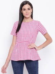 Fabnest womens cotton Pink and white check peplum top with zipper at back