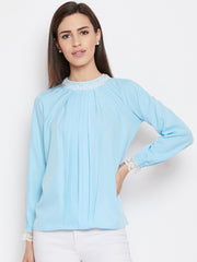 Fabnest womens light blue pleated top with lace at neck and sleeves
