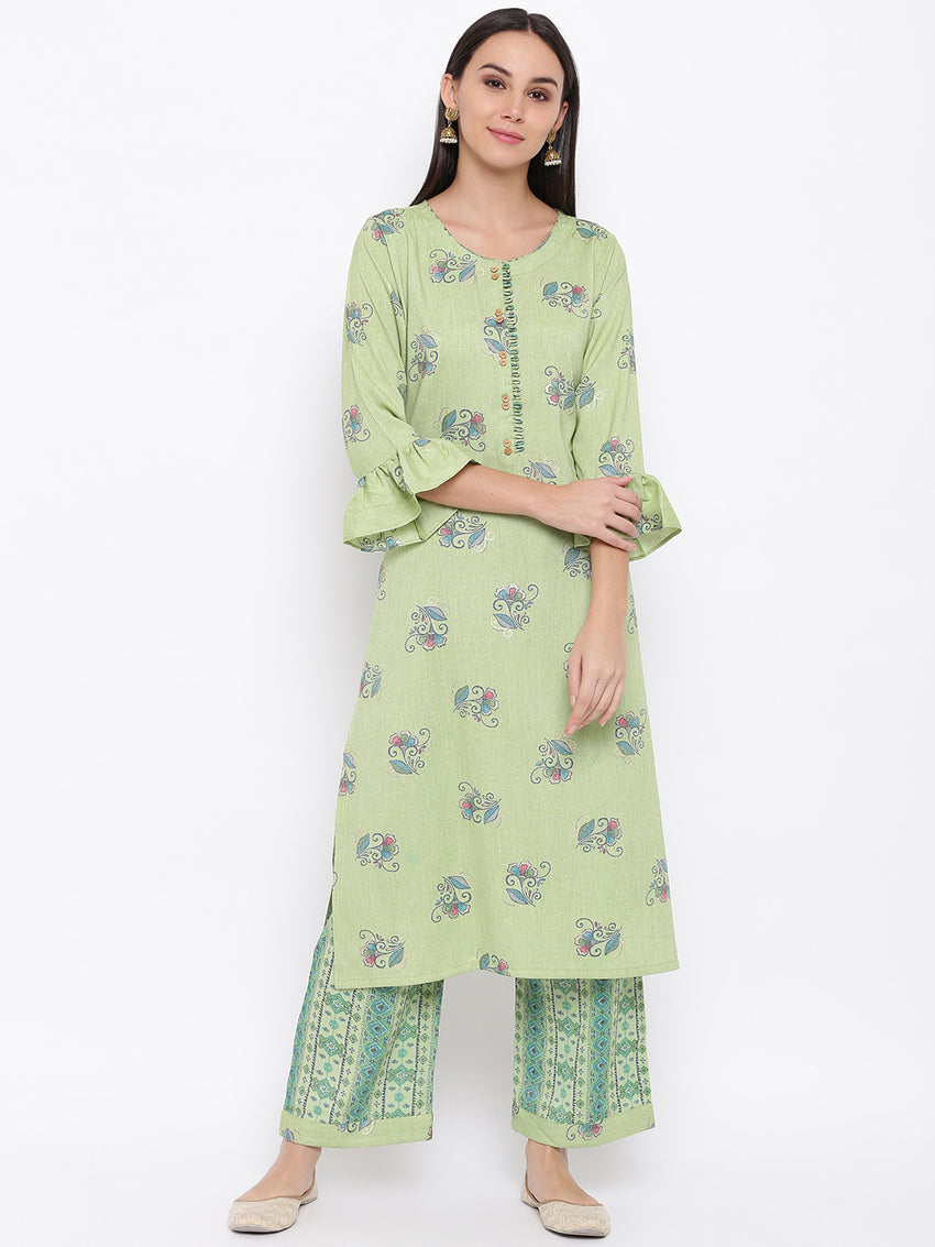 Fabnest womens rayon lime green printed kurta and pant set. with flounce sleeve and button detailing at the neck