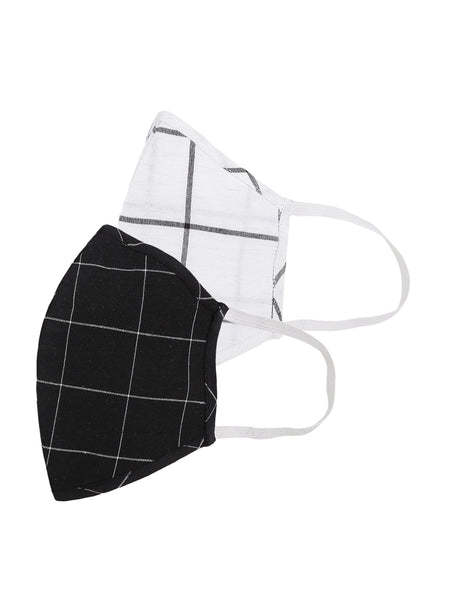 Fabnest Womens White and Black Check Face Masks Pack Of 2