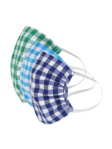 Fabnest Unisex Light Blue/White Green/White Blue/White Check Face Masks Pack Of 3