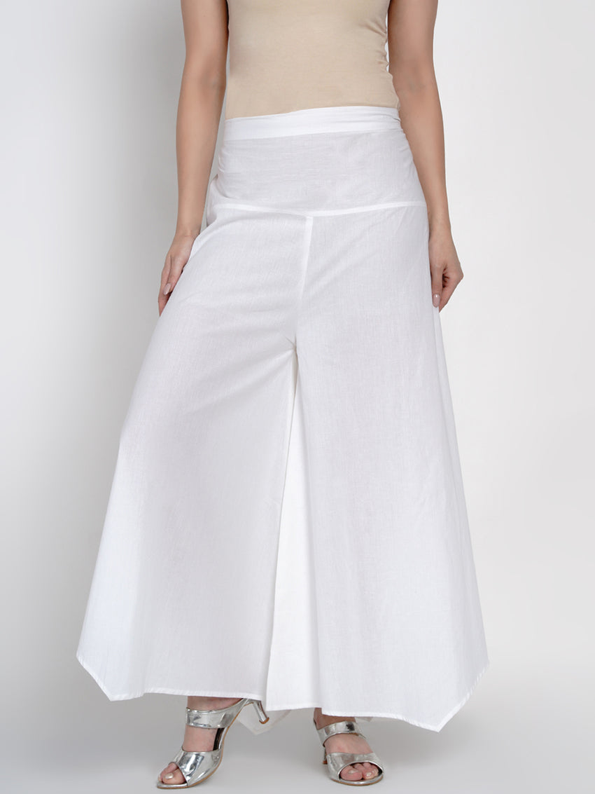 Fabnest Womens Basic Cotton White Assymetrical Pant