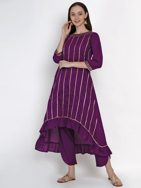 Fabnest Womens Purple Cotton Asymmetric Kurta With Gota And Petal Pant Set
