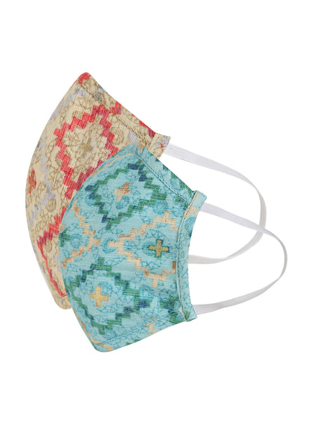 Fabnest Womens Blue And Beige Printed Face Masks Pack Of 2