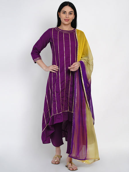 Fabnest Womens Purple Cotton Assymetrical Kurta With Gota And Petal Pant Set Along With Tie And Dye Dupatta With Gota