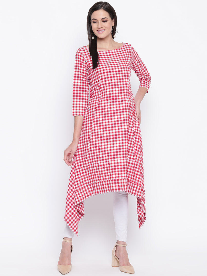 Fabnest womens cotton Red and white gingham check assymetrical hem kurta