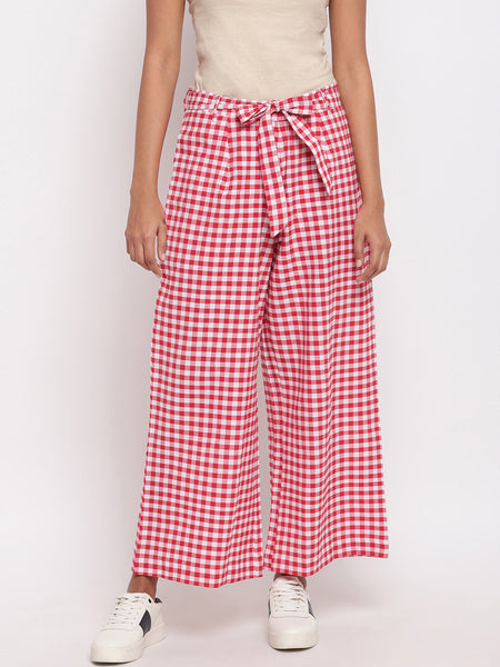 Fabnest women handloom cotton red and white check palazzo pant