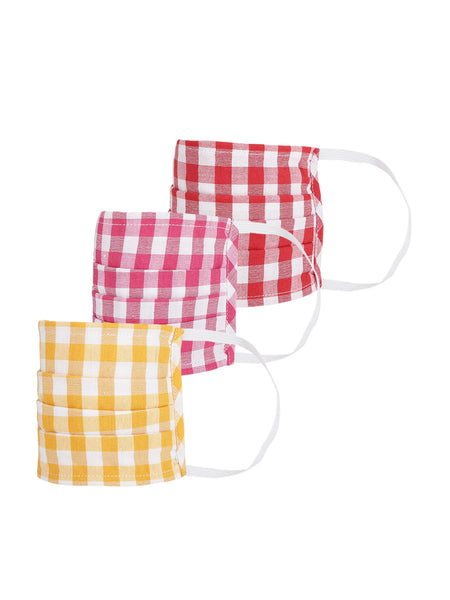 Fabnest Womens Yellow And Red And Pink check Face Masks Pack Of 3