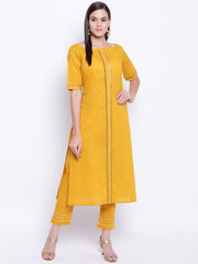 Fabnest womens cotton yellow straight kurta and pant set with antique gold gota inserts