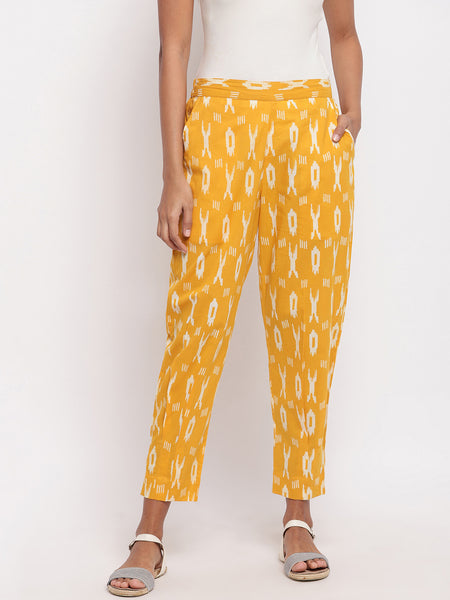 Fabnest Cotton ikkat stylised pants with an inverted pleat detail and pockets