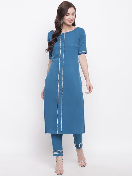 Fabnest womens crepe blue straight kurta and pant set with gota inserts.